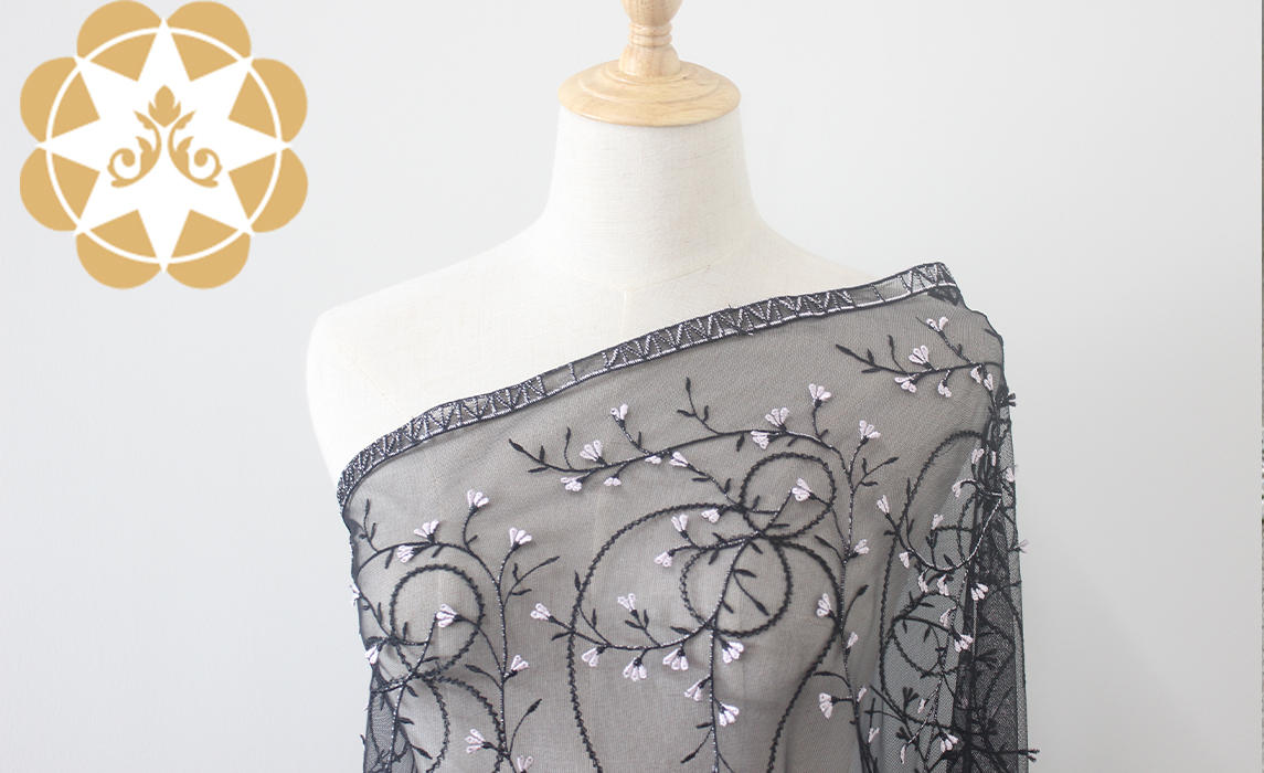 Gorgeous 3D handwork flowers embroidery fabric for Lingerie/Clothing /Curtain