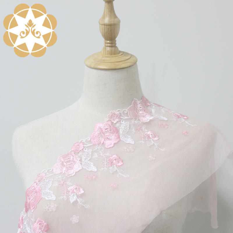 Wholesale French lace trimming with delicate pink flower for lingerie or fashion show design dress