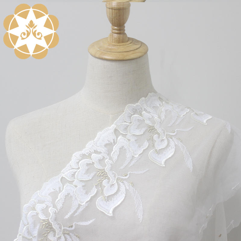 Ivory Big flower with golden metallic yarn lace trim for clothes. Lingerie and nightgowns