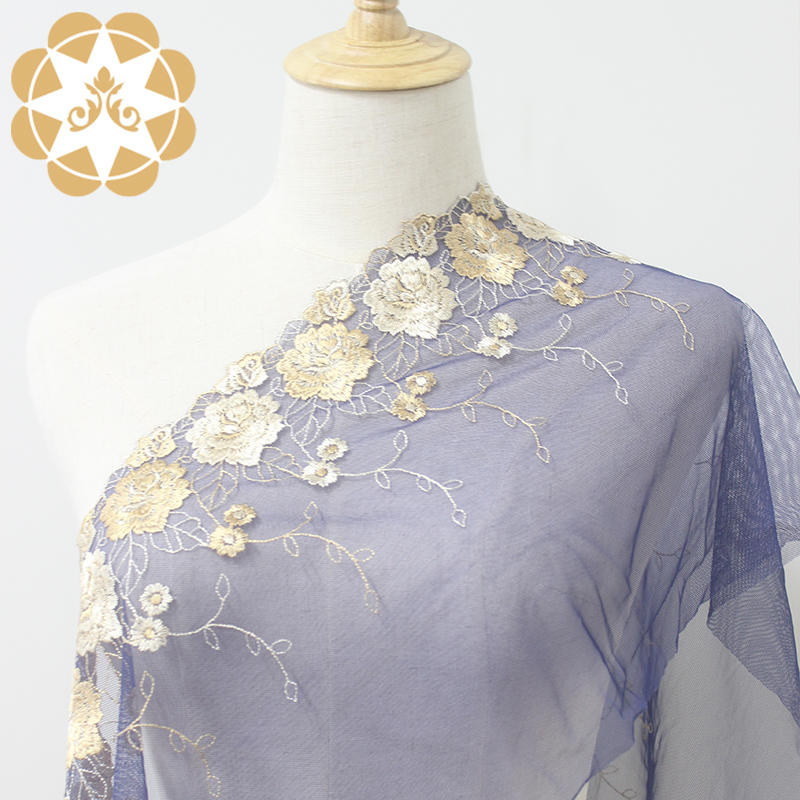 Dark Blue Tulle Embroidered with Beige and Gold colour flower Lace Trimming for Dress Robes or Lingerie