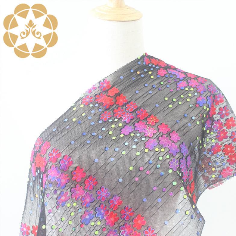 Printed fabric embroidery lace Gradient colour flower pattern positioned beads positioned lace forstylish tops, skirts, dresses and many other garments.