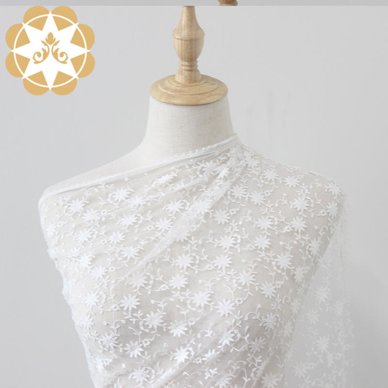 Whole Lace Fabric Nylon and Cotton flower Dress Fabric For wedding dress Clothing Curtain