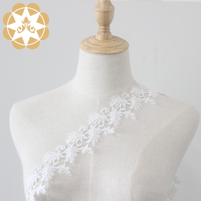 Eyelash lace trimming leaves embroidery pattern for Bridal gowns veils/lingerie/bralette costumes and crafts