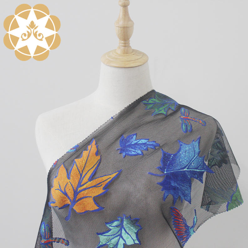 130cm digital position printing leaves and dragonflies design black lace fabric for garments