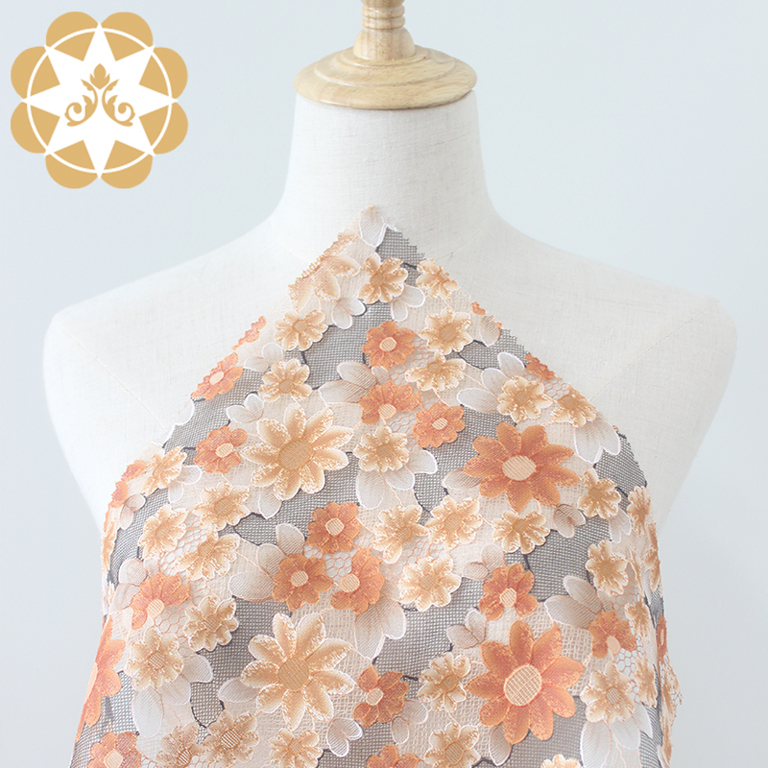 Winsunemb-Wholesale 3D printing Flowers lace fabric for cloth, curtain cloth,garment