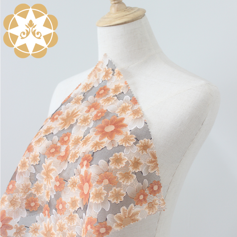Winsunemb -Wholesale 3D printing Flowers lace fabric for cloth, curtain cloth,garment