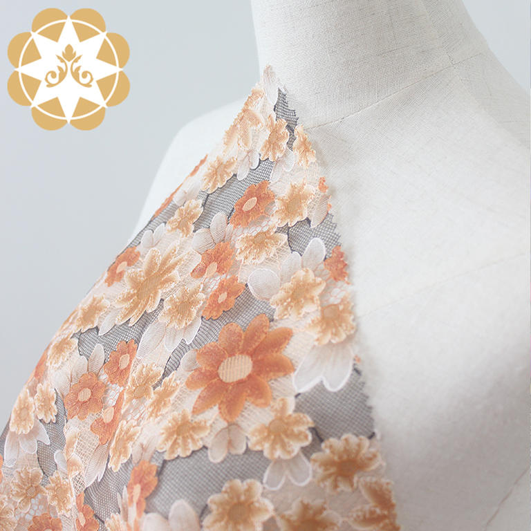 Wholesale 3D printing Flowers lace fabric for cloth, curtain cloth,garment