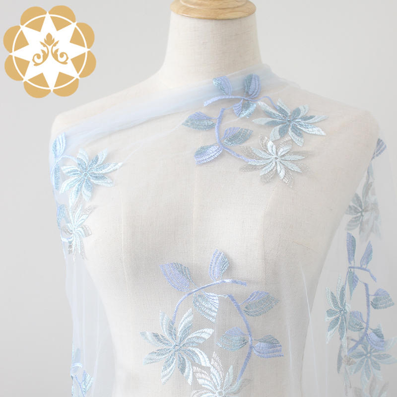gold and blue double flower lace is polyester embroidery fabric. Parent-child outfit. Wedding. Evening dress。135 cm width.