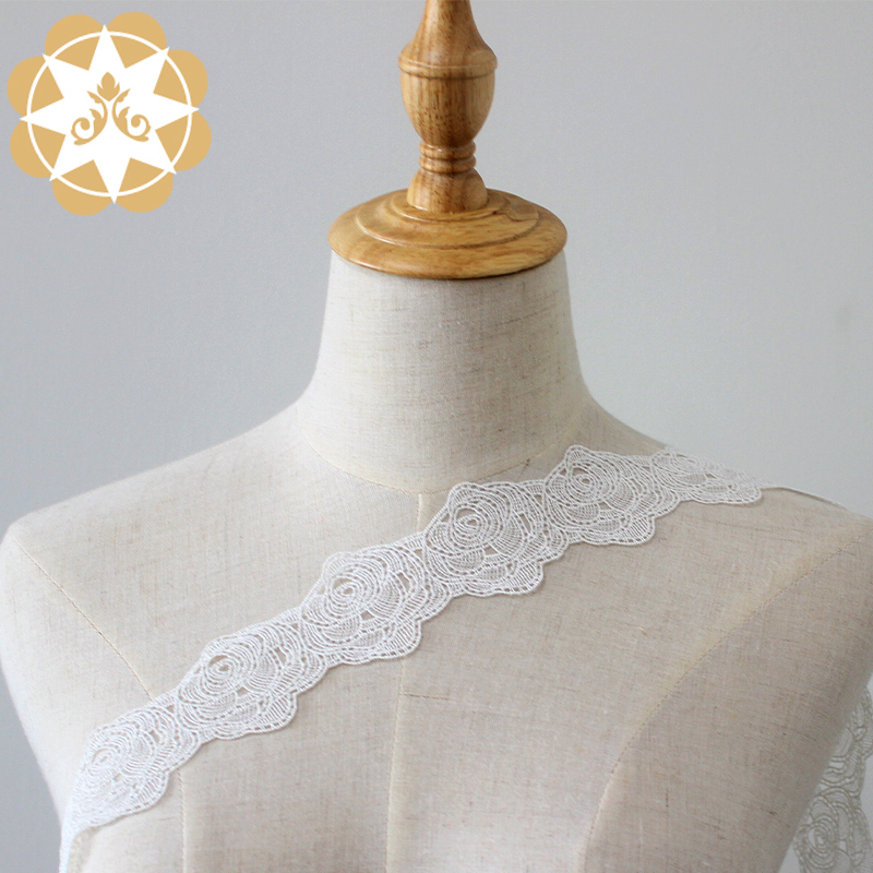 Winsunemb Round rose Embroidery Lace Trimming 100% polyester 5cm wide rose embroidery lace ivory color chemical lace wedding dress decoration French lace edge.-Winsunemb