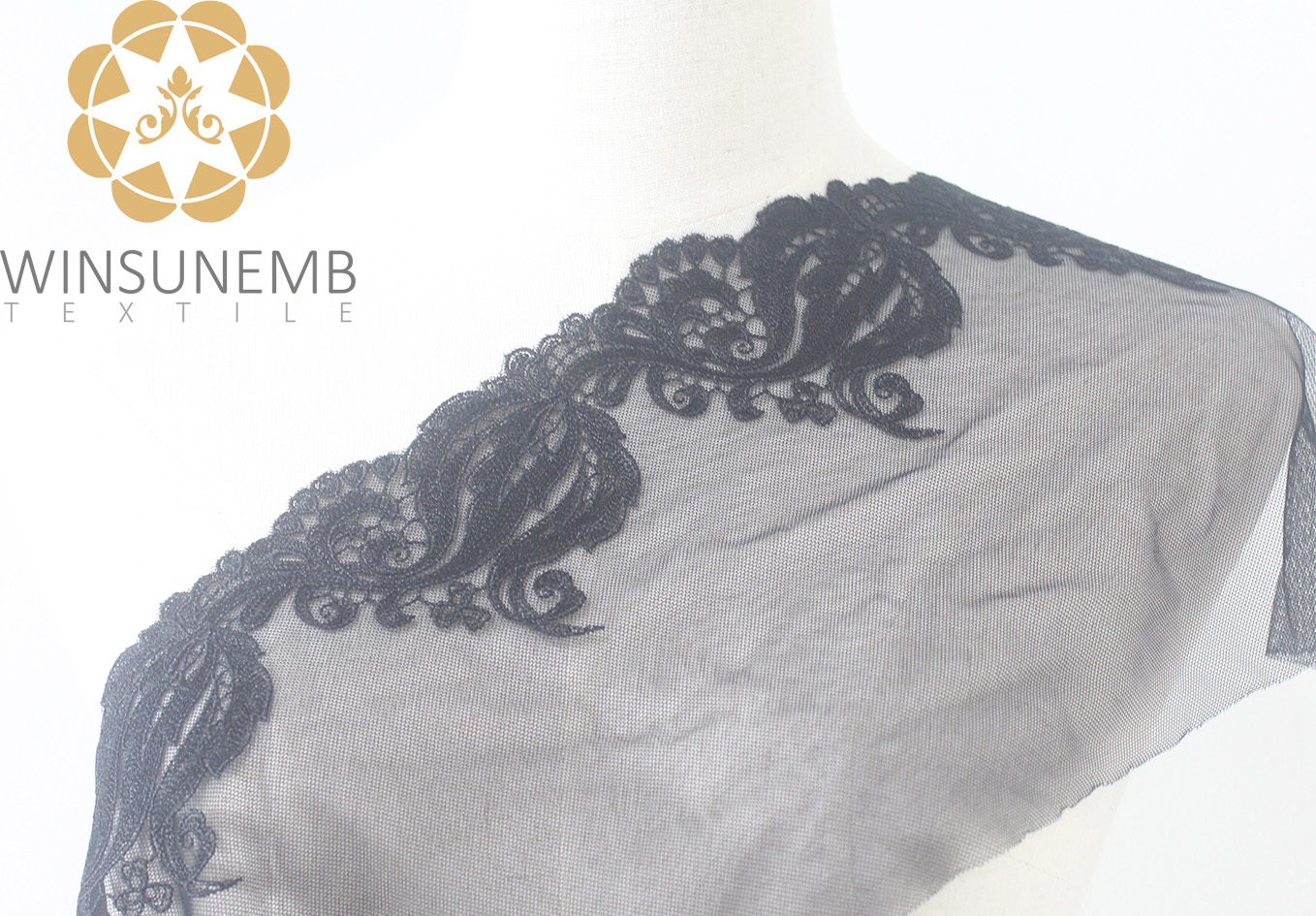 Surrounded by love mermaid single-wave embroidery lace 21 cm, 100% polyester, underwear, wedding dresses, gifts, decorative lace.-Winsunemb
