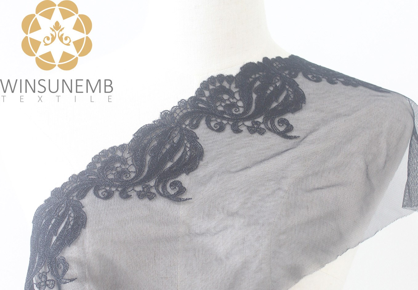 Winsunemb -Lace Fabric | Surrounded By Love Mermaid Single-wave Embroidery Lace Trimming 21 Cm