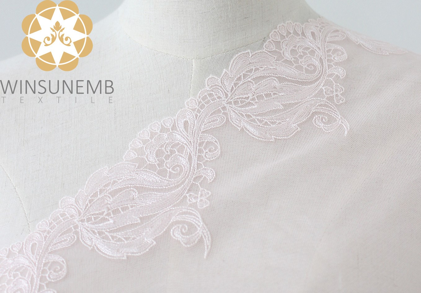 Winsunemb -Lace Fabric | Surrounded By Love Mermaid Single-wave Embroidery Lace Trimming 21 Cm-1