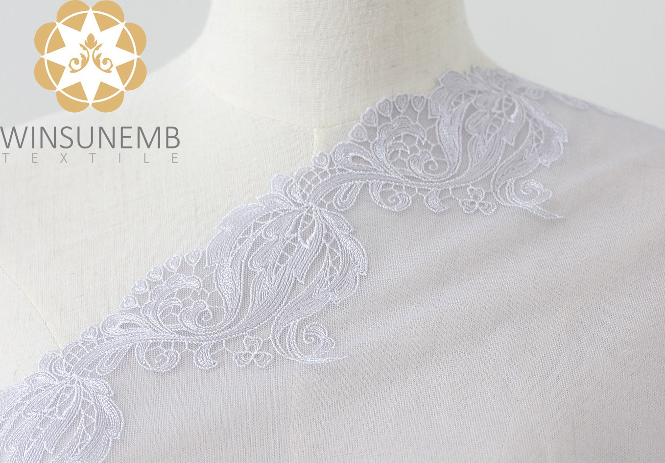 Winsunemb -Lace Fabric | Surrounded By Love Mermaid Single-wave Embroidery Lace Trimming 21 Cm-2