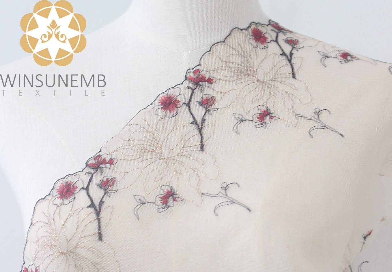 Winsunemb -Manufacturer Of Lace Trim By The Yard Enchanting Plum Embroidery Lingerie