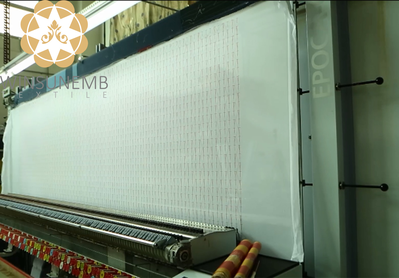 first processes machine production。 the other two machines are: multi-head embroidery machine and sample machine, and there is a second process professional cutting yarn.-Winsunemb