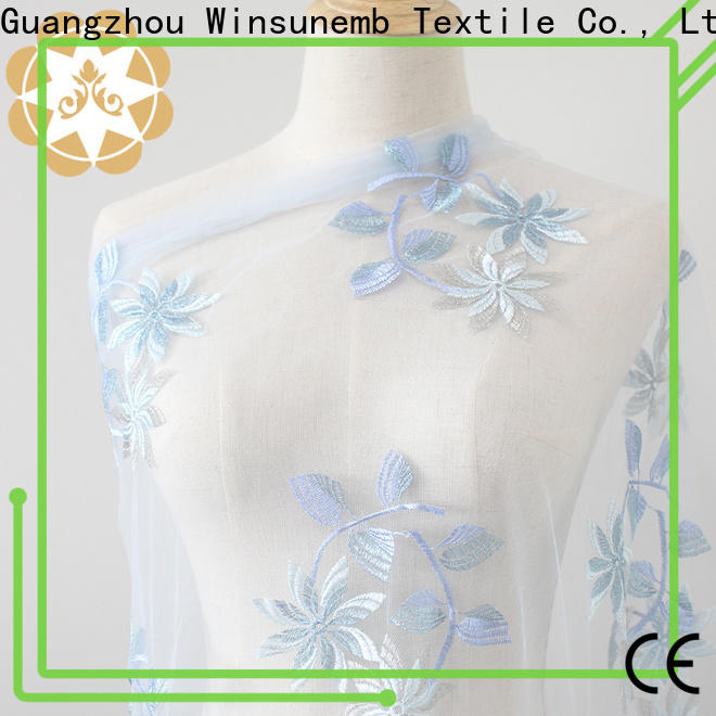 Winsunemb embroidery lace fabric online for underwear