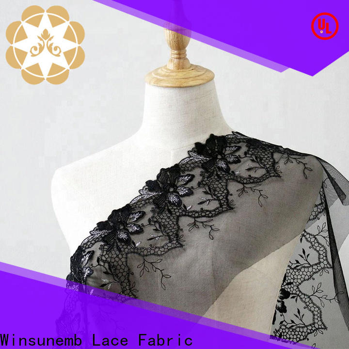 Winsunemb oem embroidered lace fabric by the yard producer for apparel