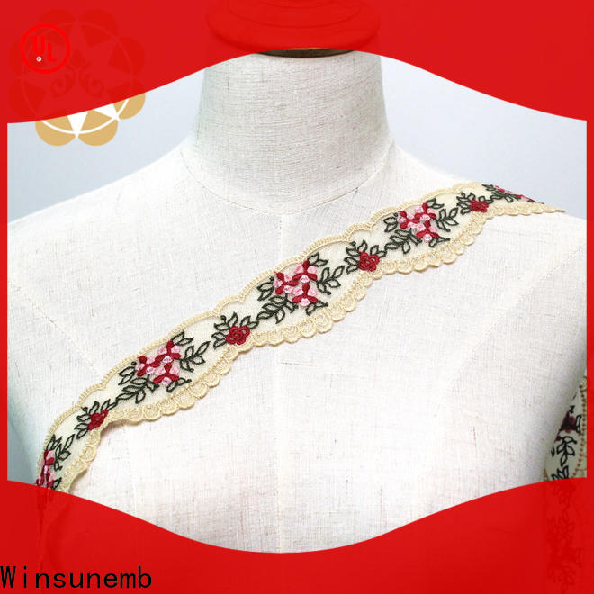 Winsunemb design Embroidery Lace Trimming for manufacturer for lingerie