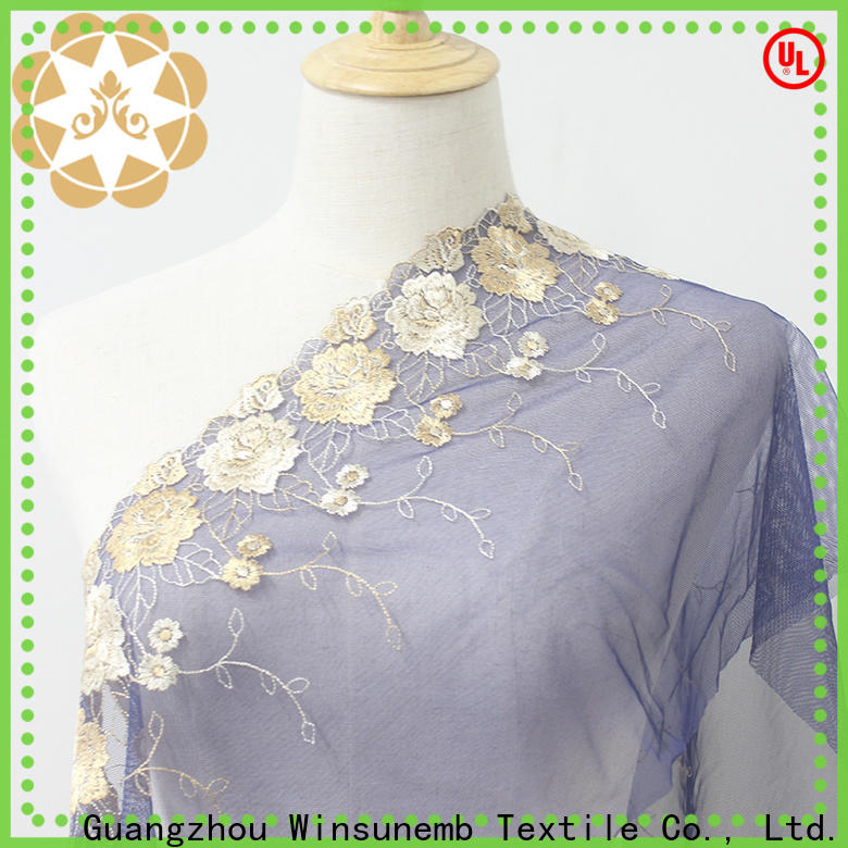 Winsunemb competitive price lace fabric shop now for fashion garment