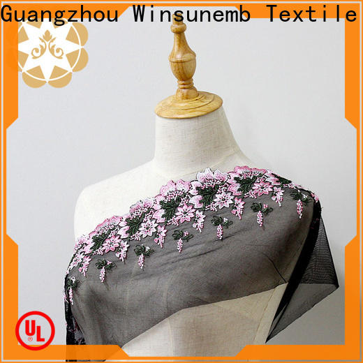Winsunemb snowflake lace fabric bulk production for apparel