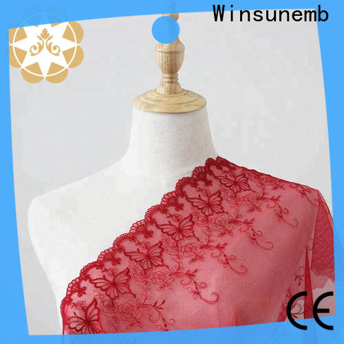 Winsunemb embroidered lace fabric by the yard for apparel