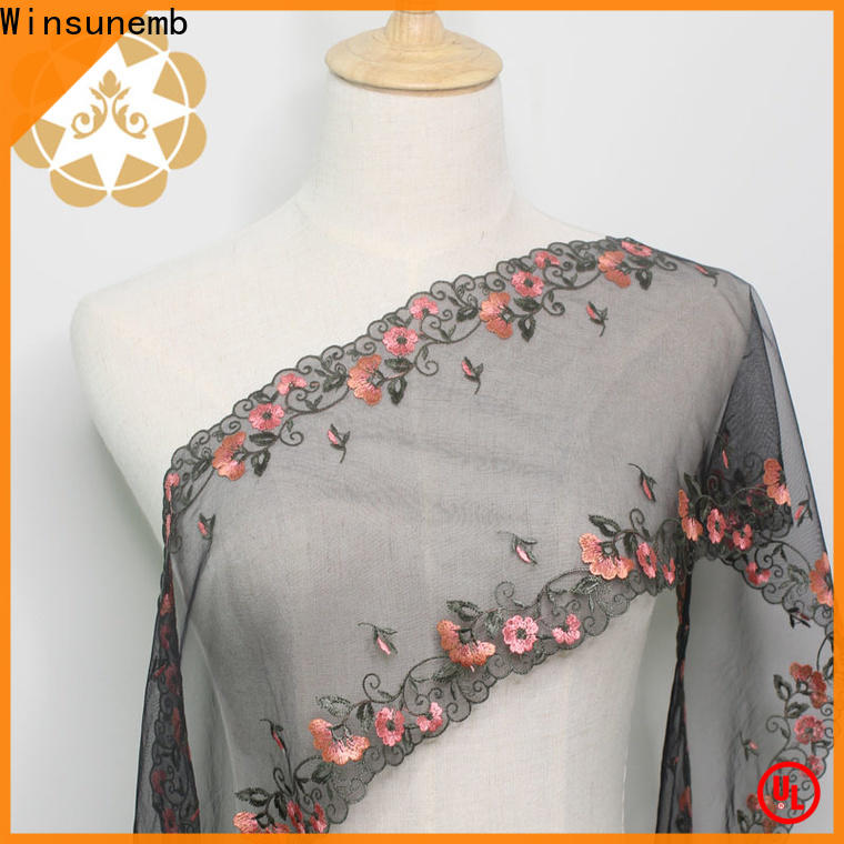 Winsunemb soft beaded lace fabric producer for underwear