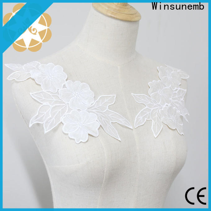 Winsunemb embroidered lace neckline factory price for decorate