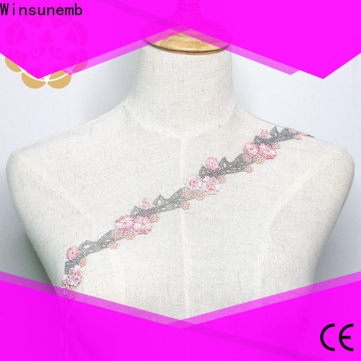 Winsunemb competitive price lace trim by the yard for manufacturer for fashion garment