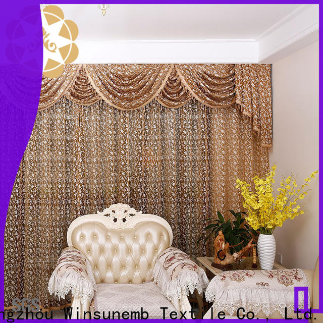 Winsunemb kitchen Embroidery Lace Curtains wholesale for window
