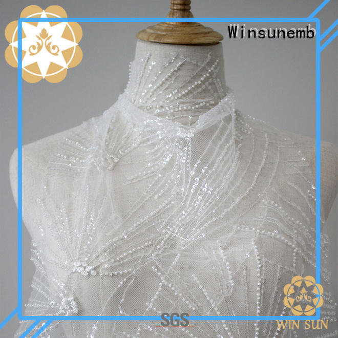 bright colorful OEM Embroidery Lace Fabric Winsunemb