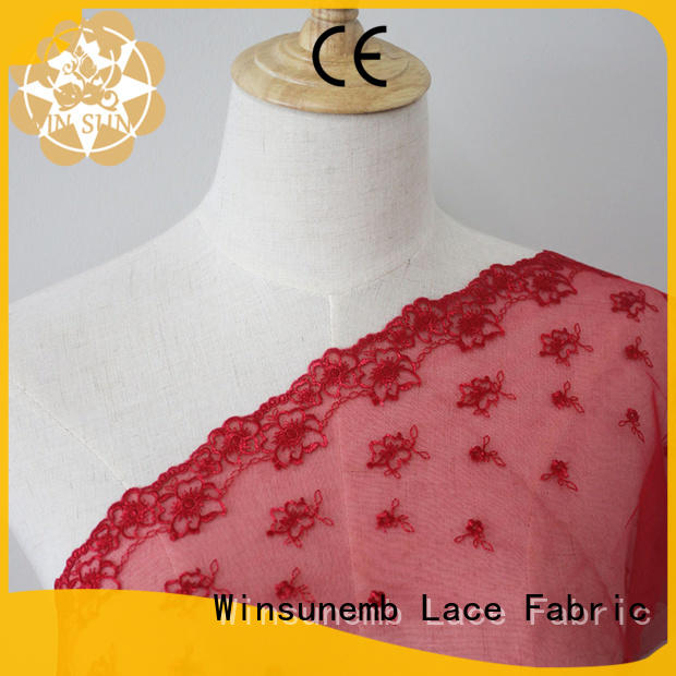 childrens clothing Winsunemb Brand red lace fabric