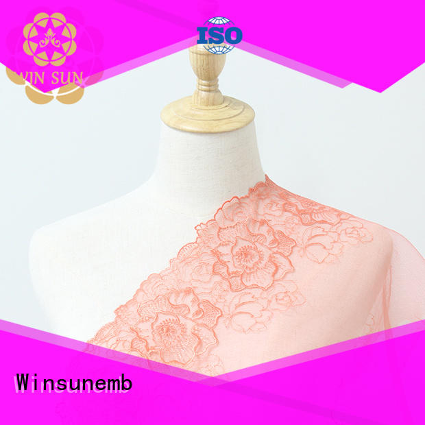 Winsunemb double lace fabric by the yard for manufacturer for underwear