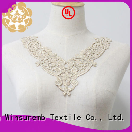 Winsunemb cutwork lace motif for manufacturer for clothing collars