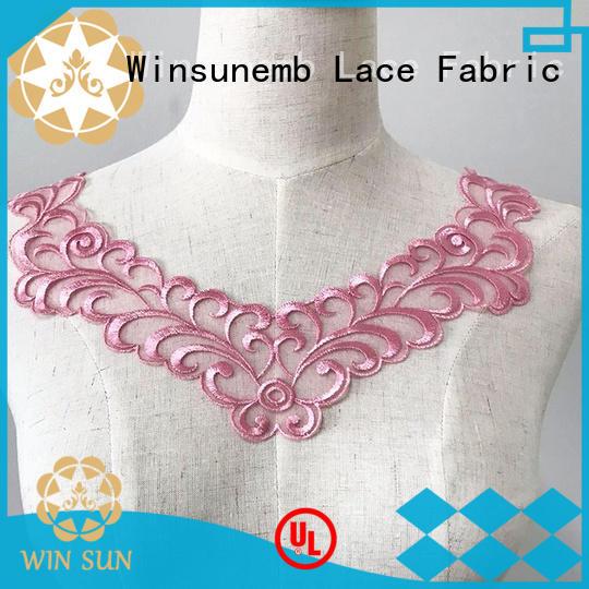 collar embroidery lace motif bulk production for DIY Winsunemb