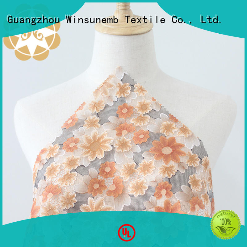 Winsunemb printedembroidery printed lace fabric directly sale for cloth