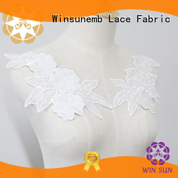 Winsunemb lace embroidery lace motif dropshipping for clothing collars