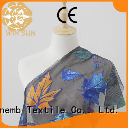 Winsunemb elegant printed lace fabric directly sale for cloth