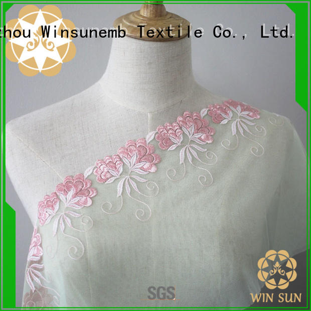 Winsunemb stretch lace fabric for manufacturer for underwear