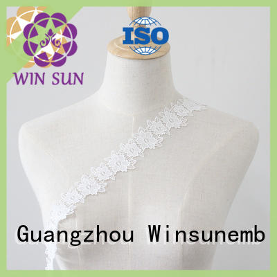 width Embroidery Lace Trimming bulk production for lingerie Winsunemb