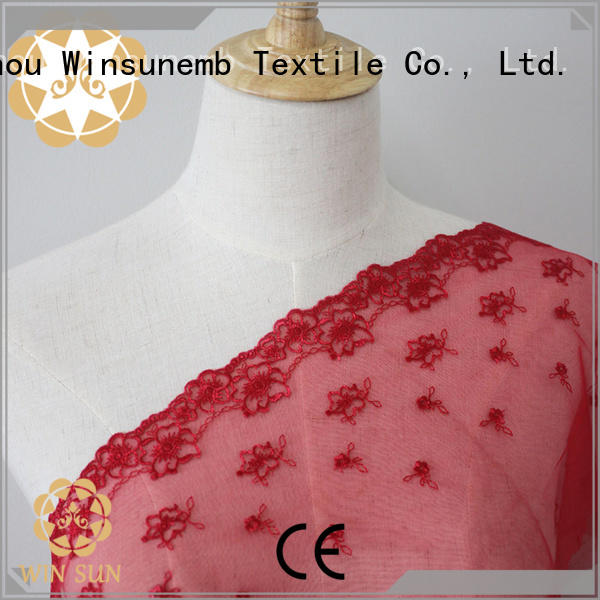 Winsunemb childhood bridal lace fabric bulk production for apparel