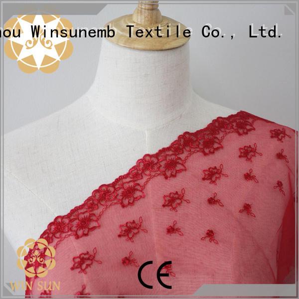 Winsunemb childhood bridal lace fabric bulk production for apparel