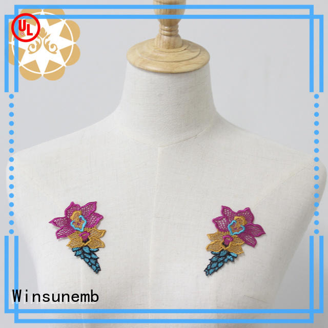 Winsunemb exquisite embroidery lace motif in china for clothing collars