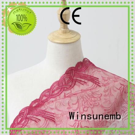 Winsunemb professional bridal lace fabric thread for apparel