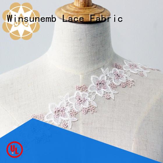 Winsunemb korea lace trim by the yard bulk production for fashion garment