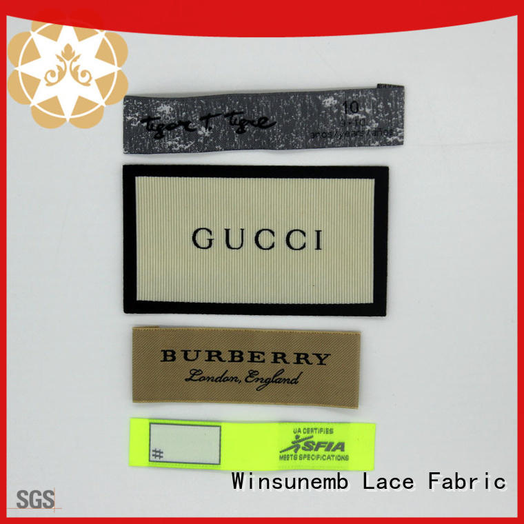 Winsunemb logo woven labels factory price for dresses