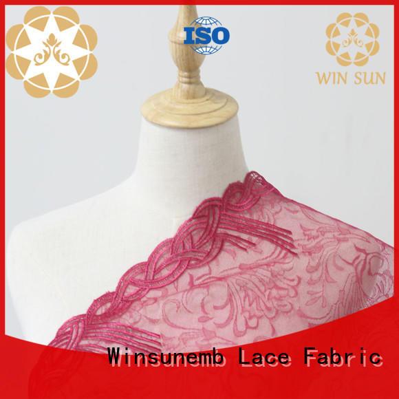 Winsunemb elegant cotton lace fabric bulk production for underwear