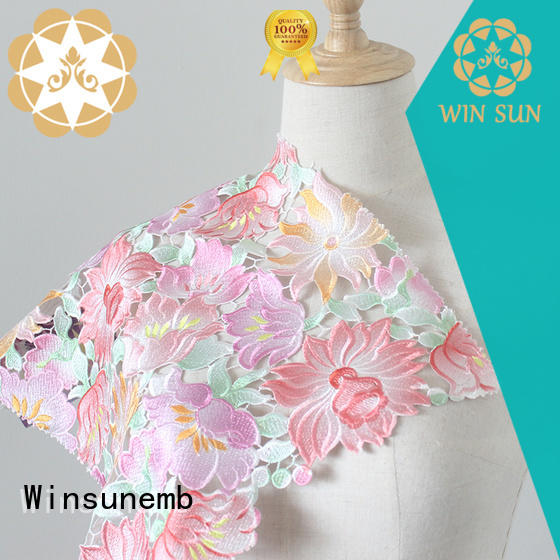 Winsunemb digital printed lace fabric wholesale for cloth