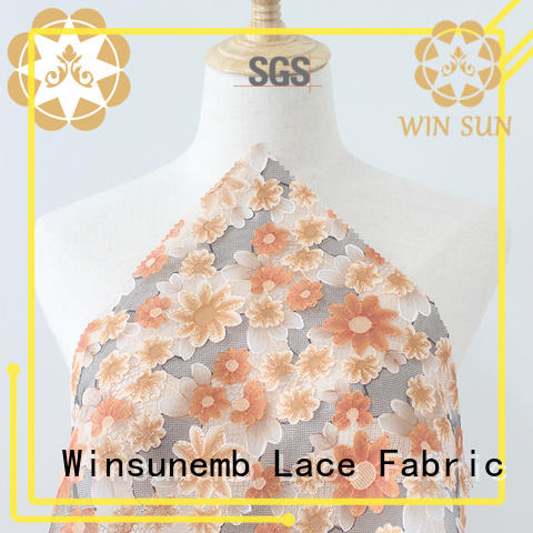 Winsunemb fashion design printed lace fabric for manufacturer for curtain cloth