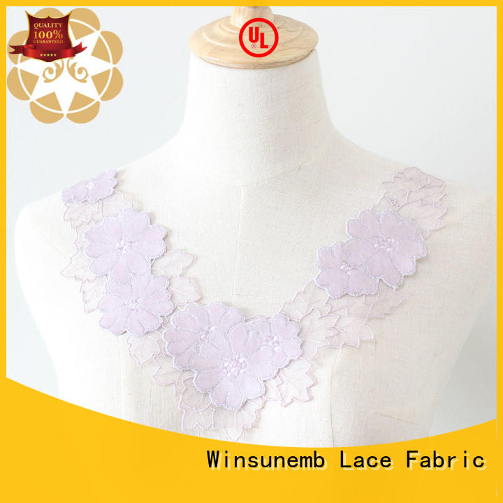 Winsunemb neckline lace motif wholesale for decorate