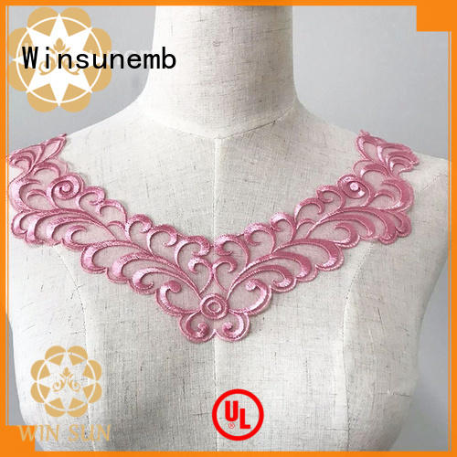 Winsunemb fancy lace neckline wholesale for clothing collars